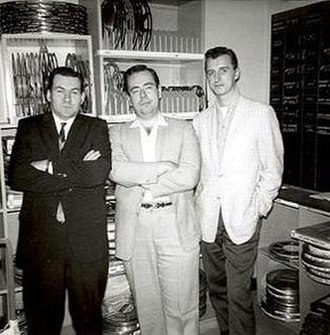 Ron Haydock - Ron Haydock (right) in 1962, with film editor Bob Burns and author/historian Jim Harmon.