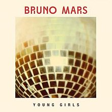 "A shiny disco ball with the caption ""Bruno Mars"" in red capital letters on the top of the image and on the bottom of the image the words ""Young Girls"" are also spelled in capital letters."