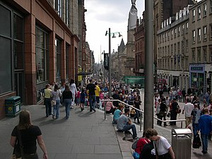 History of Glasgow - Looking south down Buchanan Street, from between Bath Street and Dundas Street.