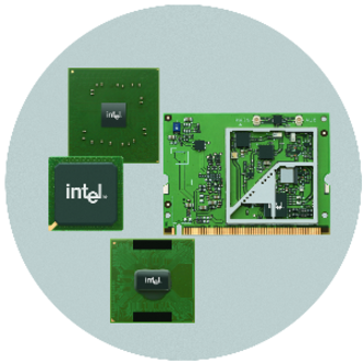 Centrino - Components of the Centrino platform. From right, clockwise: Intel PRO/Wireless wireless network adapter, Intel mobile processor, Intel mobile southbridge chipset, and Intel mobile northbridge chipset.
