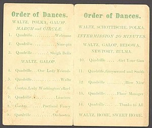 Dance card - Image: Dance Card Inside View 1884