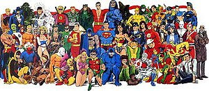 DC Universe -  A 'class photo' of DC Universe characters, circa 1986. In this group shot, each character is drawn by either his or her original artist or an artist closely associated with the character.