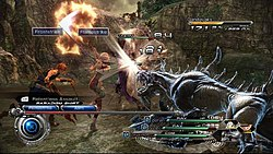 A man and a woman attacking a spined, canine monster with swords in a canyon, with a UI overlay on top of the image depicting their status.