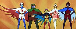 Five birdlike cartoon characters