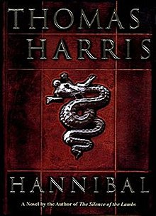 "Artwork of a vertical, rectangular box. The text and illustration look like they were chiseled out of silver. The background consist of red tiles shaded with different levels of black. On top, there is the author's name, Thomas Harris. Below, in the middle, there is the illustration of a dragon eating a man, styled as an ancient bas-relief. On the bottom, there is the title, Hannibal. Below the title there is a sentence that says, ""A Novel by the Author of The Silence of the Lambs""."