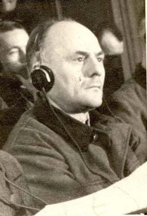 Hans Aumeier - Aumeier on trial at the Supreme National Tribunal, Kraków, Poland, 1947.
