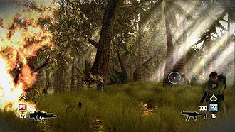 Heavy Fire - A gameplay screenshot of Heavy Fire: Black Arms presenting a co-operative multiplayer mode.