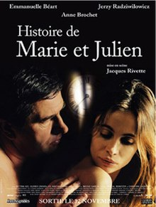 A film poster showing a middle-aged man touching the shoulder of a young woman he is in bed with