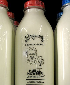Huell's image on a milk bottle