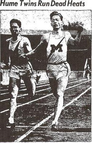 Robert H. Hume - Hume brothers cross the finish line in 1944 hand-in-hand