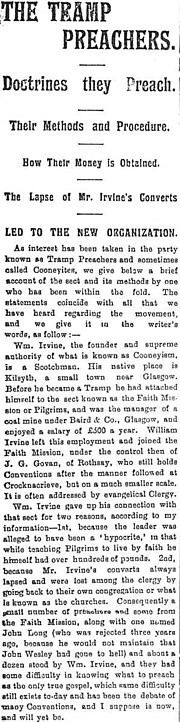 Scan of a 1910 newspaper article regarding Tramp Preachers, Doctrines, Methods, Money and Lapses