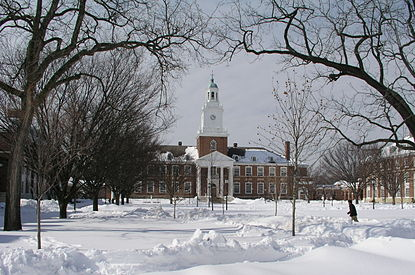 Gilman Hall, as seen from the Upper Quadrangle in the winter