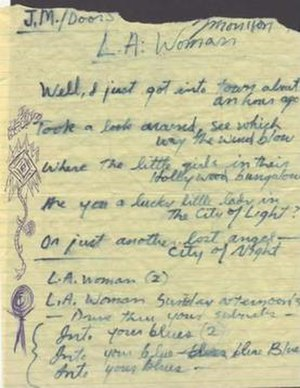 L.A. Woman (song) - Morrison's handwritten original lyrics to 1971's LA Woman.
