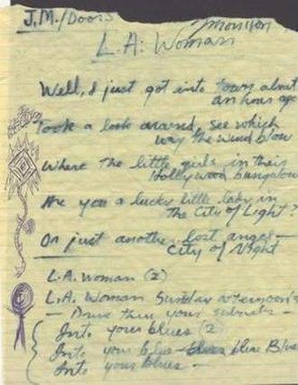 L.A. Woman (song) - Morrison's handwritten original lyrics to 1971's LA Woman.