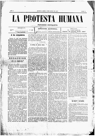Anarchism in Argentina - The first edition of La Protesta Humana, 1897