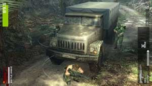 Metal Gear Solid: Peace Walker - Snake and an MSF soldier conducting a Co-Ops mission. The image has Snake in Naked uniform hiding from a Peace Sentinels soldier, armed with an M60 GPMG. The player's partner is barely seen hiding on the other side of the truck.