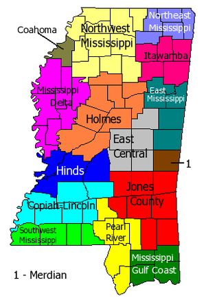 List of colleges and universities in Mississippi : Map ...