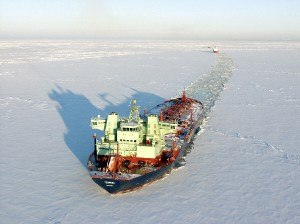 Double acting ship - MT ''Tempera'', the first double acting tanker, breaking ice astern