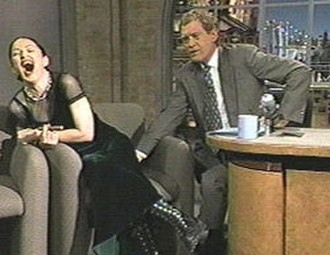 Madonna on Late Show with David Letterman in 1994 - Madonna's heavily censored appearance on Late Show with David Letterman led to some of Letterman's highest late-night viewership.