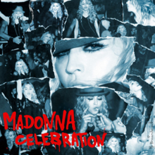 "A bluish collage of a number of images, featuring a middle-aged blonde woman with long curls. In the images, she is dancing, smoking cigarettes and the central image is a shot of her face only. On the below-right of the image, the words ""Madonna"" and ""Celebration"" are written in bright red capital fonts."
