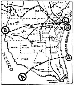 Map of South Texas showing information about the Plan of San Diego, 1915.jpg