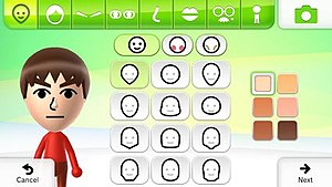 Mii - Screenshot of the Mii Maker's creation tool on Wii U.