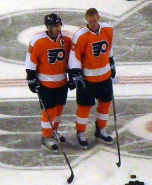 Current Captain Mike Richards and Jeff Carter ...