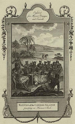 "History of Saint Kitts and Nevis - European illustration of the Kalinago people: engraving from British cartographer John Hamilton Moore's book Voyages and Travels (1778), entitled ""Natives of the Caribee, feasting on human flesh""."