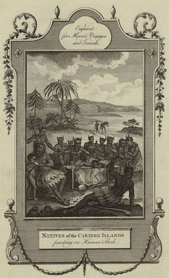 """History of Saint Kitts and Nevis - European illustration of the Kalinago people: engraving from British cartographer John Hamilton Moore's book Voyages and Travels (1778), entitled """"Natives of the Caribee, feasting on human flesh""""."""
