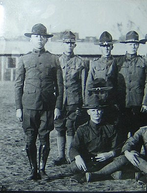 University of Oklahoma Army ROTC - Cadets of the Student Army Training Corps, the OU Army ROTC predecessor unit, standing at attention.