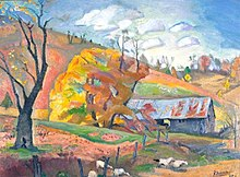 "Pierre Daura, ""Fall at the McCorkle's Barn"", c. 1942, oil painting on canvas board, 17.5 in x 23.63 in"