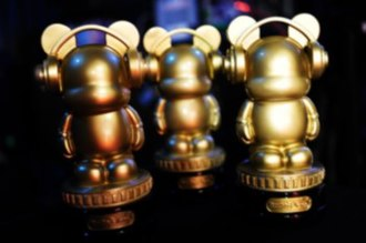 "Radio Disney Music Awards - Radio Disney's ""Golden Mickey"" award trophys."