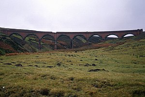 Leadhills and Wanlockhead Branch - Rispin Cleugh viaduct shortly before being demolished, 11 November 1990