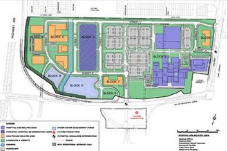 Mackenzie Vaughan Hospital - Site plan for the hospital lands between Highway 400 (left), Jane Street (right), and Major Mackenzie Drive (bottom). The Mackenzie Vaughan Hospital is on 'block 2' at the right, blocks 1, 4, 5 and 7 (in orange) are for privately-owned ancillary health-care service businesses, and blocks 8 and 9 (in light blue) are stormwater runoff ponds. The grey blocks are parking lots. Visible at the bottom is the planned transit terminal.