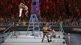 WWE SmackDown vs. Raw 2011 - John Cena, Randy Orton, Rey Mysterio, and Drew McIntyre in a TLC Match. The Tables, Ladders and Chairs match features new ways to use and break objects.