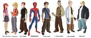 The Spectacular Spider-Man (TV series) - Character designs to some of the main characters in The Spectacular Spider-Man. Left to right: Mary Jane Watson, Gwen Stacy, Harry Osborn, Spider-Man, Peter Parker, J. Jonah Jameson, Dr. Curt Connors and Eddie Brock.