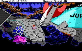 Space Quest III - A scene from the garbage freighter, showing some typical Space Quest science fiction allusions: wrecks of a TIE fighter, an ACME Rocket, and the Jupiter 2 spacecraft.