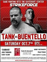 A poster or logo for Strikeforce: Tank vs. Buentello.