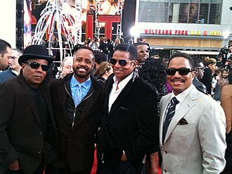 Mervyn Warren - Tito Jackson, Mervyn Warren, Jackie Jackson, and Marlon Jackson at the premiere of Michael Jackson's This Is It
