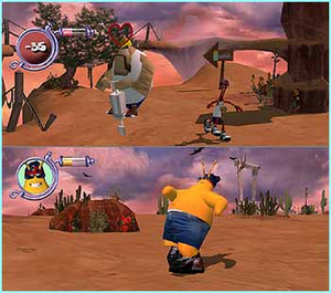ToeJam & Earl III: Mission to Earth - ToeJam (above) evades an Earthling, while Earl (below) explores the game world.