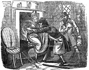 18th century illustration of the Loughton incident, and Dirk Turpin threatening to put a woman on the fire, from The Newgate Calendar.