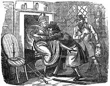 A monochrome illustration of a man pushing a woman toward an open fireplace, which is in use. Two men stand to his right, one armed with a pistol. All three men appear to be smiling.