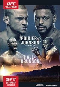 A poster or logo for UFC Fight Night: Poirier vs. Johnson.
