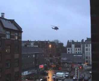 Ungdomshuset - The first helicopter arriving with police officers
