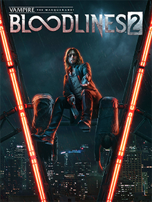 "The cover art shows a vampire sitting on the Ferris wheel at Pier 57 in Seattle together with two lifeless bodies. The logo shows ""Bloodlines 2"" in a large font, with the two ""o""s stylized as an infinity symbol."