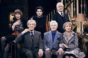 Vicious (TV series) -  (back row), Violet (Frances de la Tour), Ash (Iwan Rheon), Mason (Philip Voss), (front row) Freddie (Ian McKellen), Stuart (Derek Jacobi), and Penelope (Marcia Warren)