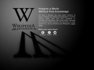 Protests against SOPA and PIPA - A screenshot of the English Wikipedia landing page, symbolically its only page during the blackout on January 18, 2012.