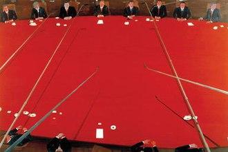 Jules de Balincourt - Ambitious New Plans, oil on board, 102x152cm, 2005