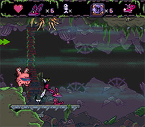 Aaahh!!! Real Monsters (video game) - Typical gameplay with Ickis, Oblina and Krum.