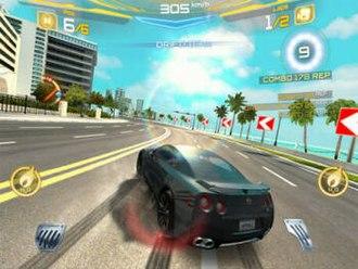 Asphalt 7: Heat - Gameplay in Asphalt 7. The player is currently drifting.